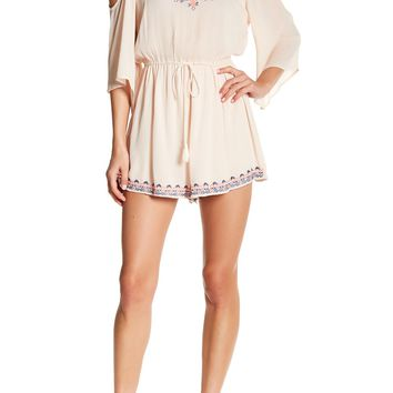 Lush | Cold Shoulder Embroidered Romper | Nordstrom Rack