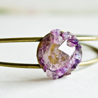 Love Cuff Bracelet - Herkimer Diamond and Amethyst Cuff Bracelet