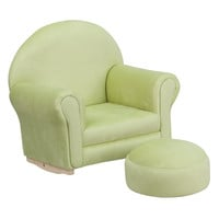 Kids Green Microfiber Rocker Chair and Footrest