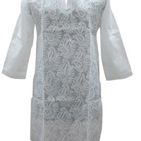 Womans Indian Kurta Indian Embroidered White Tunic Cotton M