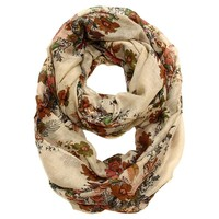 Tabitha Flower Infinity Scarf in Tan