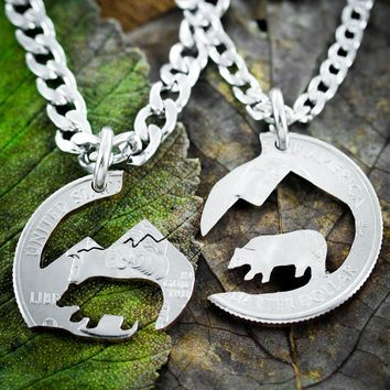 Bear and Mountain Necklace Set, adventure camping hand cut coin by NameCoins