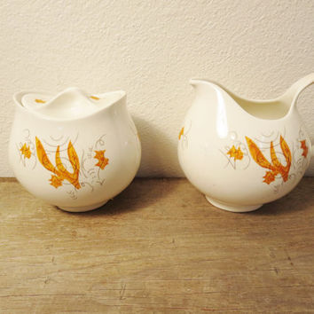 Mid Century Cream and Sugar / Eva Zeisel Cream and Sugar / Rare Arizona Pattern Eva Zeisel / Hallcraft Cream Sugar Set