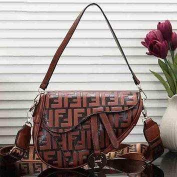 Perfect Fendi Women Fashion Leather Satchel Shoulder Bag Handbag