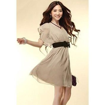 Flounce Short Sleeve Chiffon Dress