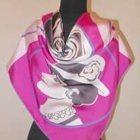 "Chanel Silk Scarf 36"" Square Coco Face CC Pink 100% Silk"