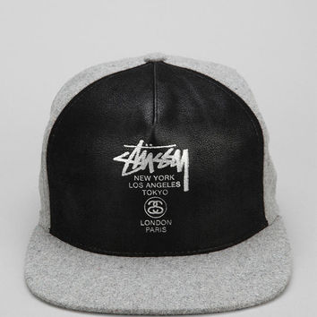 408838d94 Stussy World Tour Faux-Leather Snapback Hat - Urban Outfitters