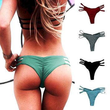 Women Brazilian Cheeky Bikini Bottom Thong Traingle Swimwear Bathing Suit CA