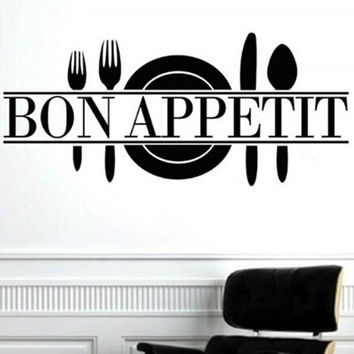 """ Bon Appetit "" Art Quote Living Room Kitchen Vinyl Wall Mural Decal Sticker"