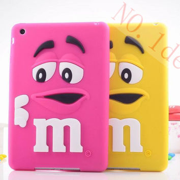 Kids Shockproof Cover Cute Rubber Silicone Rainbow Candy M & M Chocolate Bean Case for ipad mini 2 1 Tablet Accessories
