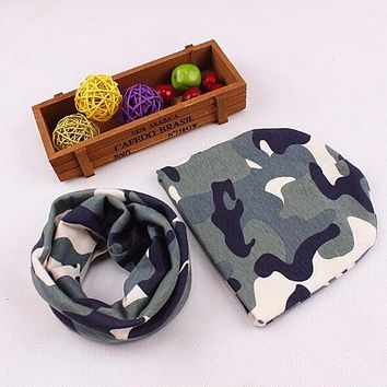 1 Set Cotton Baby Hat Scarf Autumn Winter Kids Cap Scarf Collar Boys Girls Warm Beanies Camo Star Print Children Hats Sets