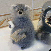 Knitted raccoon toy gift, Animal Soft Sculpture, Handmade stuffed animals, Gray, White
