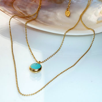 OCEAN necklace, blue turqouise necklace, framed gemstone, 24k gold platting ,turqouise necklace, december birthstone.