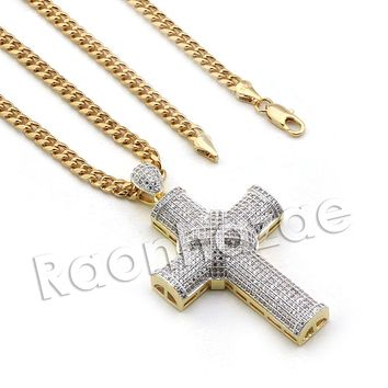 Lab diamond Micro Pave Drizzy Drake Jesus Cross w/ Miami Cuban Chain BR098