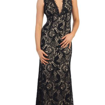 May Queen - Lace Illusion Sheath Evening Dress