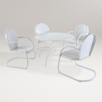 White Durresi Metal Dining Set, 5-Piece - World Market