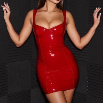 New Fashion Summer Solid Color Straps Dress Women Red