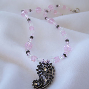 Pink Glass Beaded Necklace with Silver Paisley Pendant and Beaded Dangle Earrings - Handmade Jewelry - OOAK - Valentine's Day