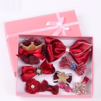 10 PCS/ Set/Pack Bow Flower Crown Star Hair Clip Accessories Pins Barrettes with Gift Present Box for Baby Girl Toddlers Children