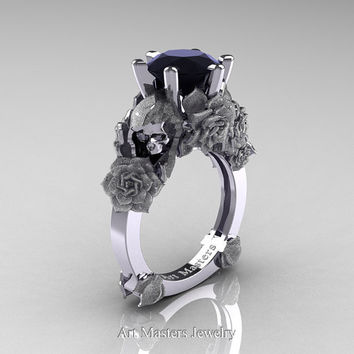 Love and Sorrow 14K White Gold 3.0 Ct Black Diamond Skull and Rose Solitaire Engagement Ring R713-14KWGSBD