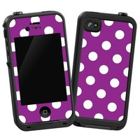 "White Polka Dot on Purple ""Protective Decal Skin"" for LifeProof iPhone 4/4s Case"