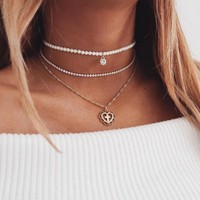 Personality Three Layer Pearl Zircon Clavicle Necklace 171120