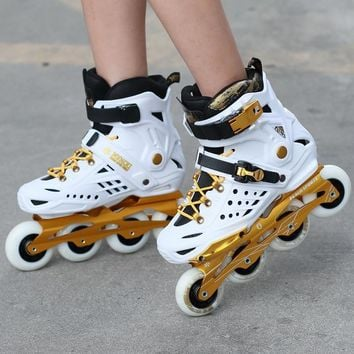 white black color Adult Inline Slalom Skates Roller Skating Shoe High Quality Slalom roller shoes