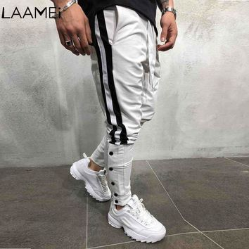 Laamei Male Hip Hop Streetwear Hare Trousers Striped Men Jogging Pants Tether Rope Color Matching Feet Trousers Men's Trouser