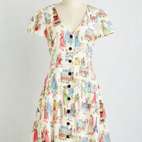 Vintage Inspired Mid-length Short Sleeves A-line Field Day Off Dress