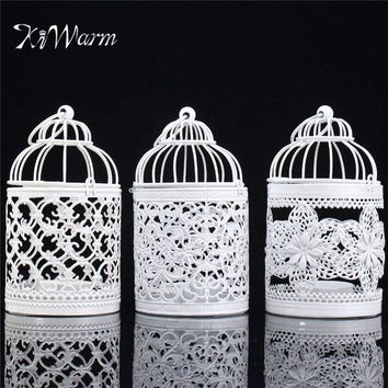 Metal Hollow Flower Bird Cage Candle Holder Tealight  Decorative Hanging Lantern