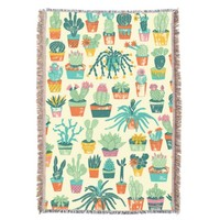 Cactus Flower Pattern Throw Blanket