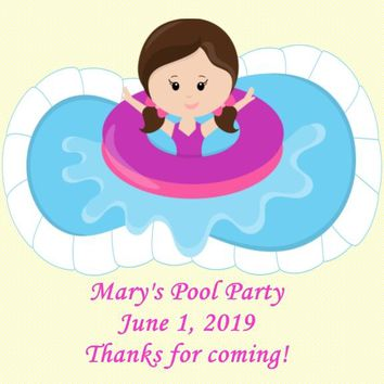 Pool Birthday Party Favor Tags Brown Hair