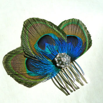 ZAZA in Peacock Blue Hair Comb Fascinator by Lucyohlucy on Etsy