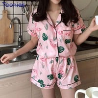 Pink Flamingo Short-Sleeved Women's Pajamas