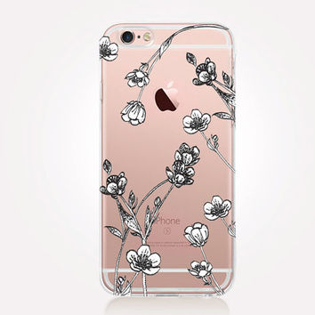 Transparent Floral iPhone Case - Transparent Case - Clear Case - Transparent iPhone 6 - Samsung S7 - Soft TPU - Gel Case - iPhone SE
