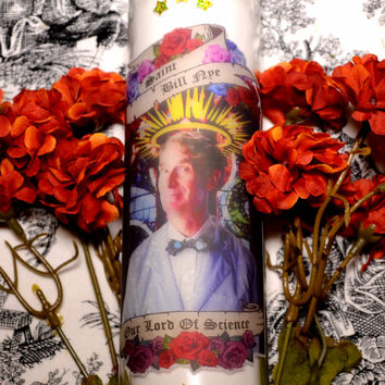 Bill Nye The Science Guy Celebrity Prayer Pillar Candle Veladora Day Of The Dead Altar Halloween Dia De Los Muertos