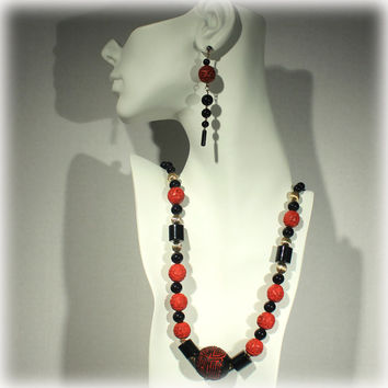 Vintage Cinnabar Carved Necklace and Earrings Lacquer Red Black