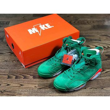 "Original Air Jordan 6 NRG ""Gatorade""Green Suede"