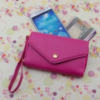 Hot Pink Multi Propose Envelope Faux Leather Wallet Case Purse for Galaxy S2/S3, iPhone 4/4S