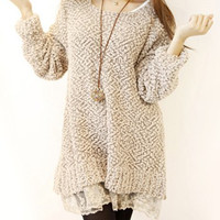 Khaki Long Sleeve Lace Splicing Dress