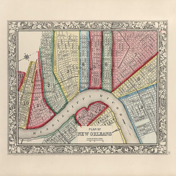 Antique Map of New Orleans, Louisiana (1863) - Archival Reproduction