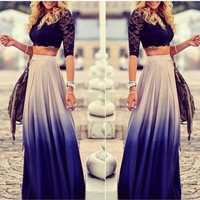 Casual Chiffon Gradient Skirt High Waist Long Pleated Elegant Skirt