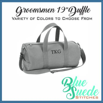 "Canvas Duffle Bag - 19"" for the Groomsmen"