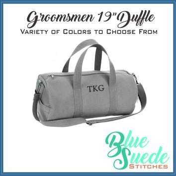 "Canvas Duffle Bag - 19"" Monogrammed for the Groomsmen"