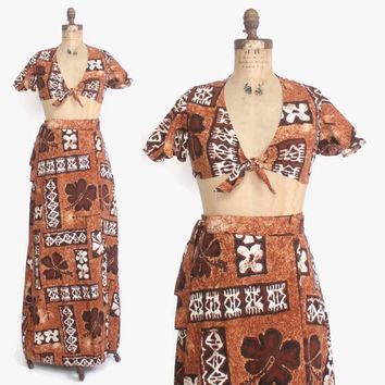 Vintage 60s HAWAIIAN Set / 1960s Matching Tie Front Crop Top & Maxi Wrap Skirt
