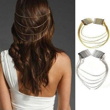 ONETOW 2 Pieces/lot Newest Fashion Bohemian Egyptian Gold Silver Women Lady Hair Comb Clip Tassel Chain Punk Hairwear Jewelry Acessories = 1928761860