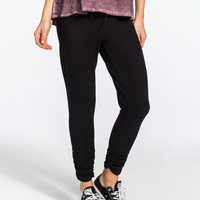 Inspired Hearts Ruched Leg Womens Jogger Pants Black  In Sizes