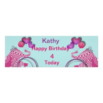 Cute Pink Party Elephant Kids Personalized Banner Print