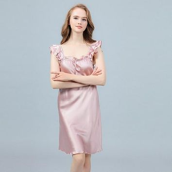 Ruffled Sleeves Ajustable Neckline 19 Momme Silk Nightgown