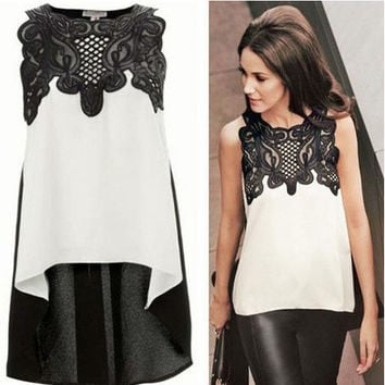 Sleeveless Lace-Paneled High-Low Blouse